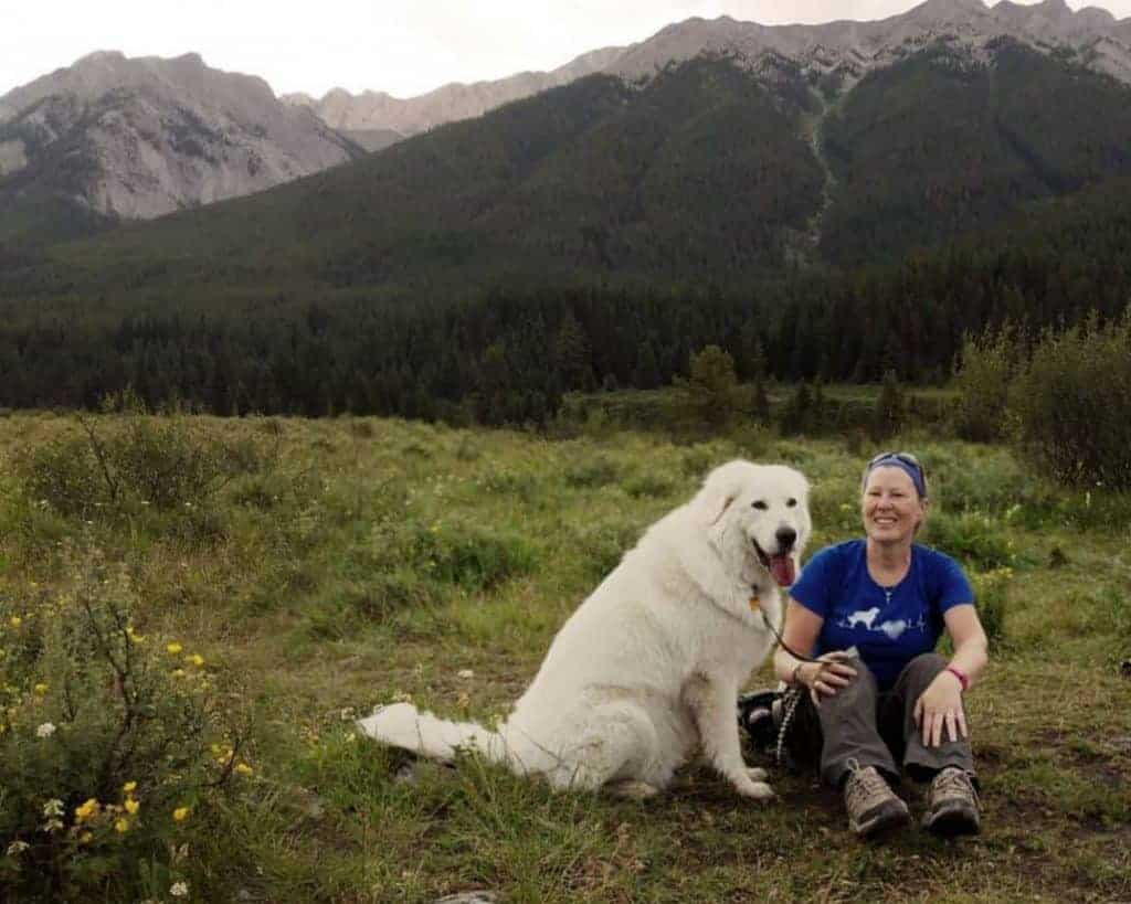 The writer and her second dog at Banff Ink Pots