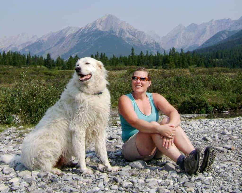 the writer and her first dog at Banff Ink Pots