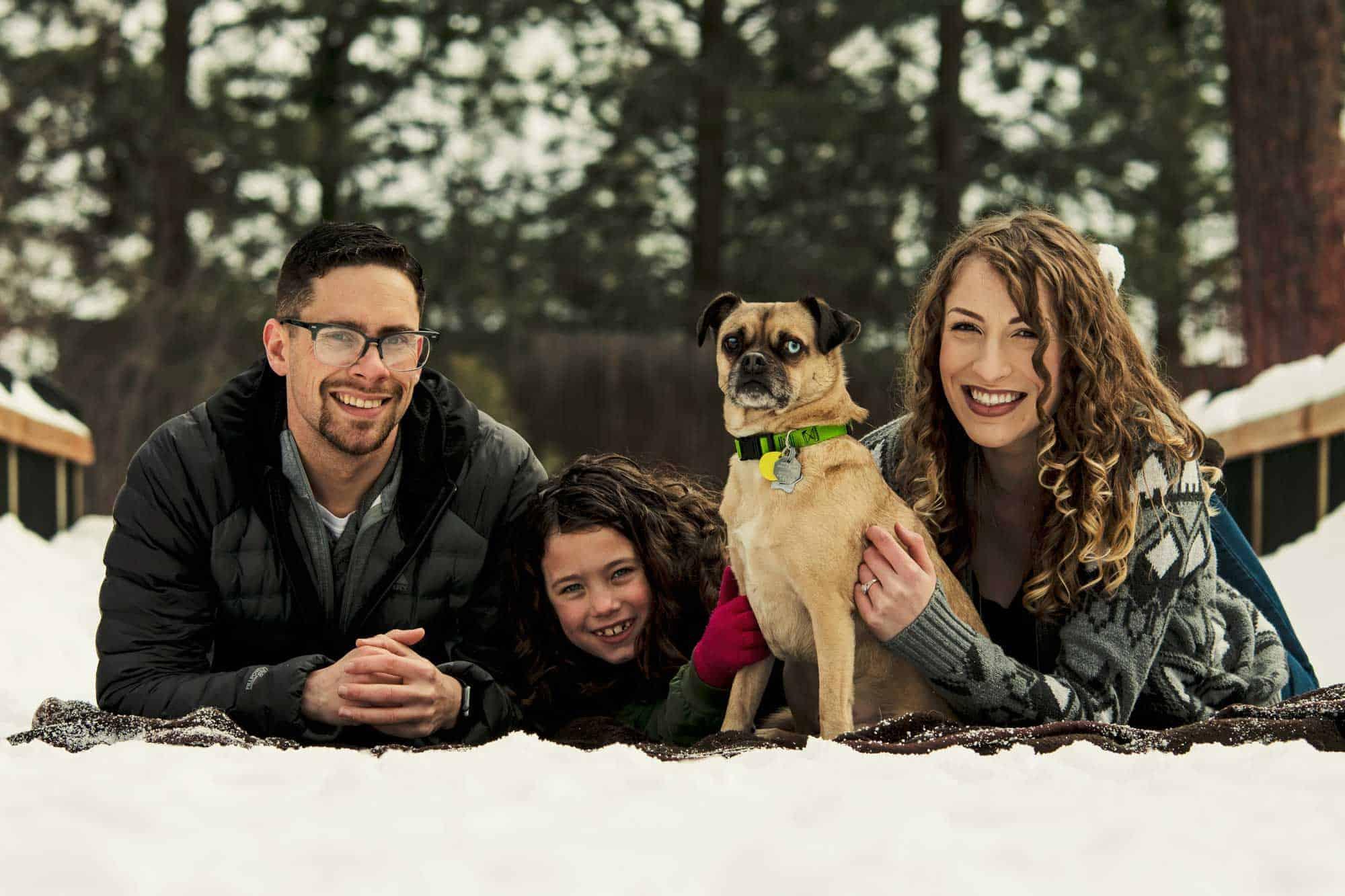 Liberty Lake dog puggle with his family