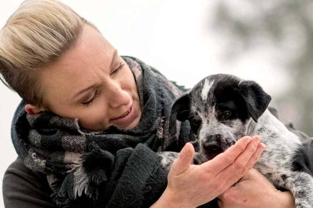 Stephanie the Spokane dog trainer with her foster puppy