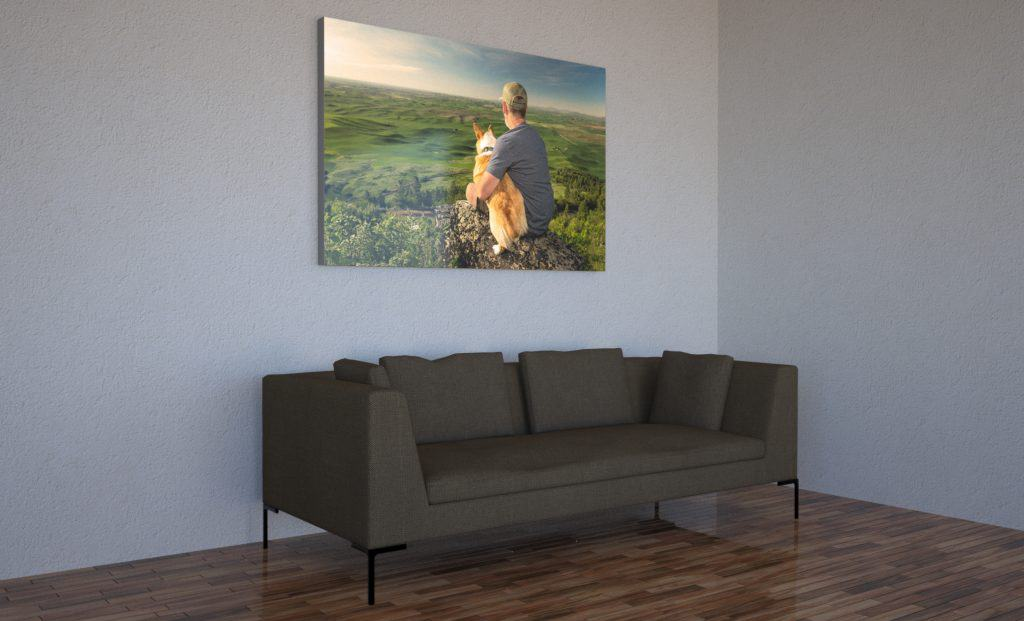 living room wall portrait of man and dog on Palouse, Eastern Washington
