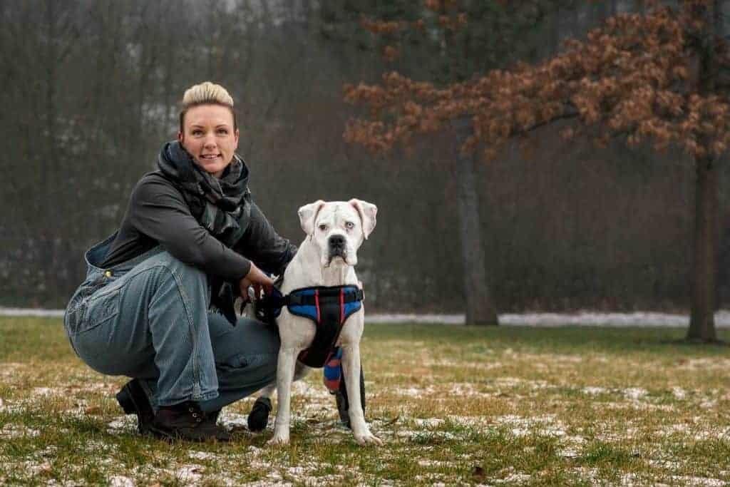 Spokane dog trainer Stephanie Niles with her boxer Bam