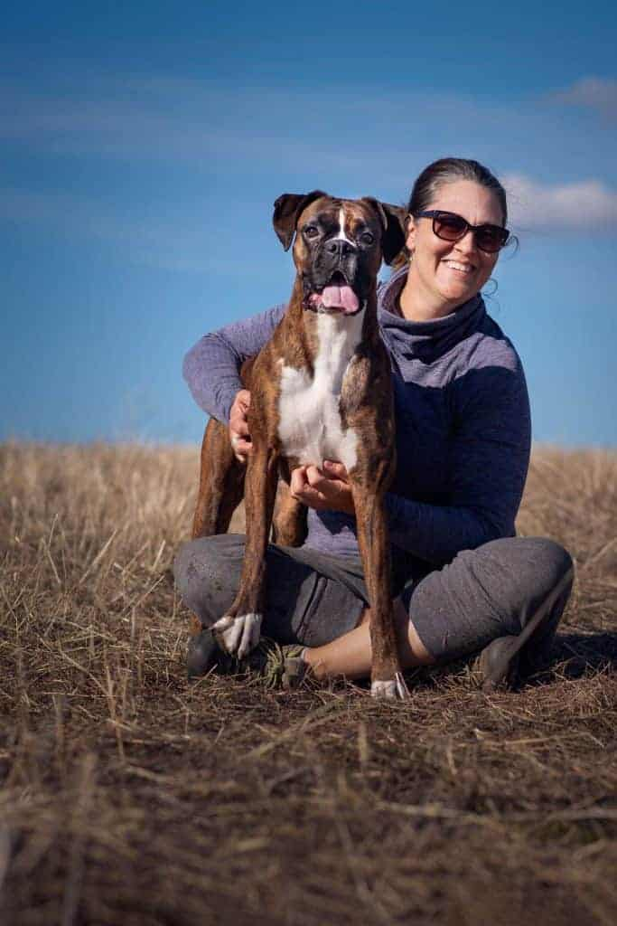 Amy Fumetti and her boxer Pepper