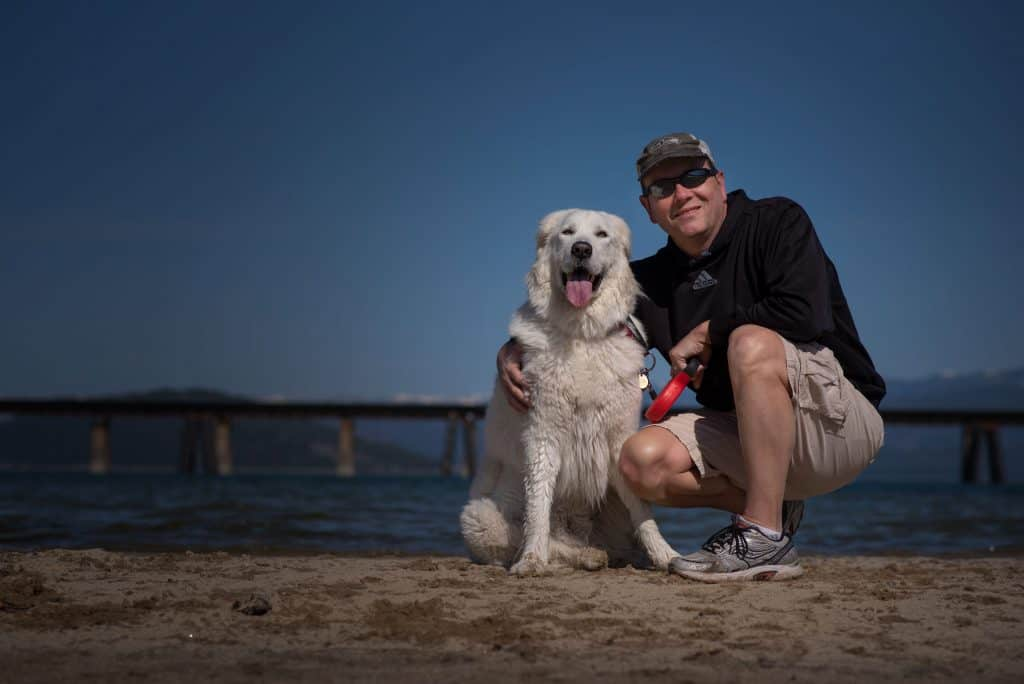 Chip and Bella at dog beach in Sandpoint