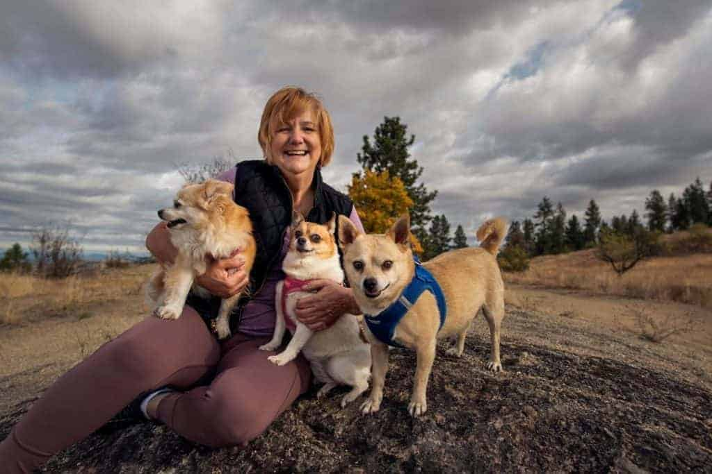 Melissa Gray and her dogs that hike