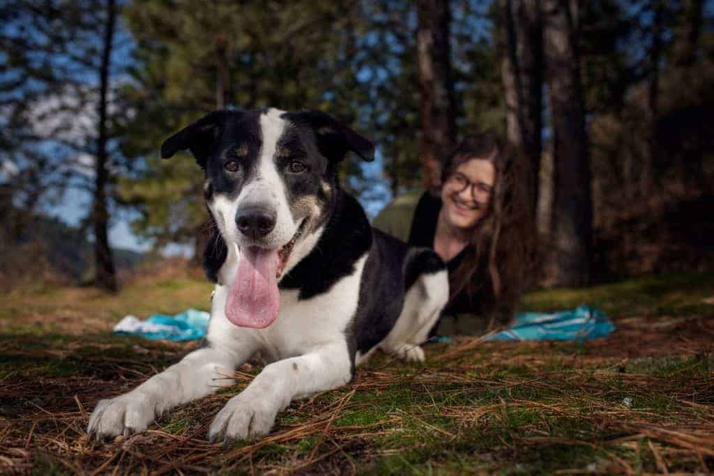 Griffey and his mom pose for dog portraits at Higgens Point in Coeur d'Alene