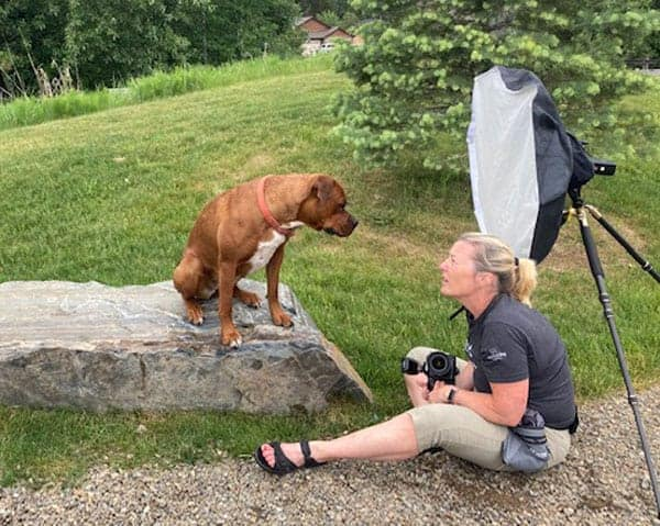 Spokane dog photographer chats with one of her clients