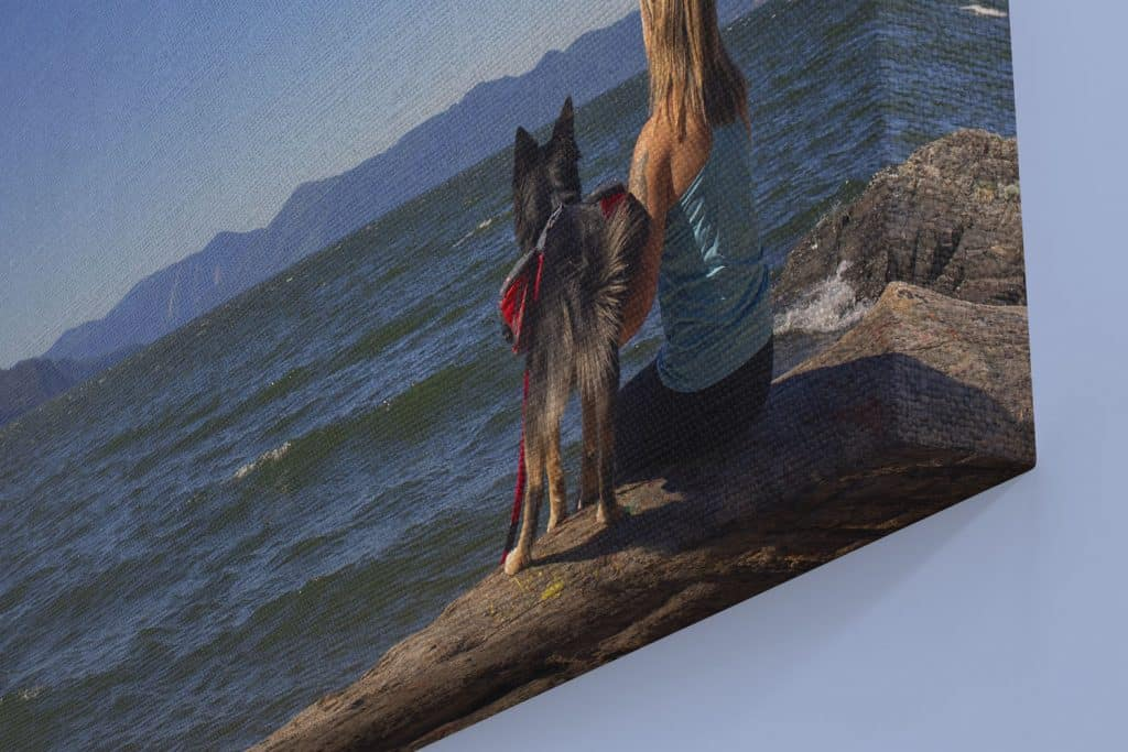 canvas gallery wrap of woman and her dog hiking in North Idaho