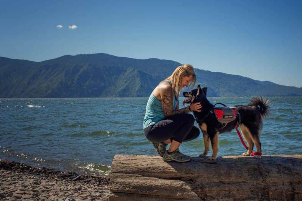woman and dog on adventure dog photography session
